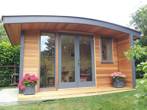 Large Wooden Garden Rooms: Curved Roof Office, Warwick Garden Offices