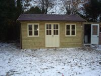 16x12 Traditional Office with centre double doors. Windows and doors painted cream.