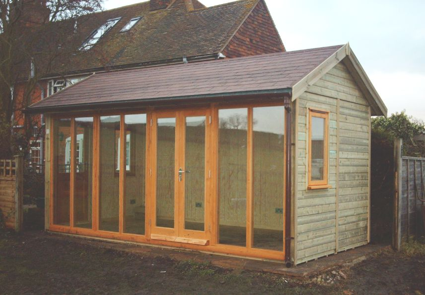 16 x 8 contemporary office with double doors and 3 sidelight sections customer also - Garden Sheds 8 X 16