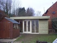 16 x 12 Office with a mono pitched roof. Customer removed shed afterwards.