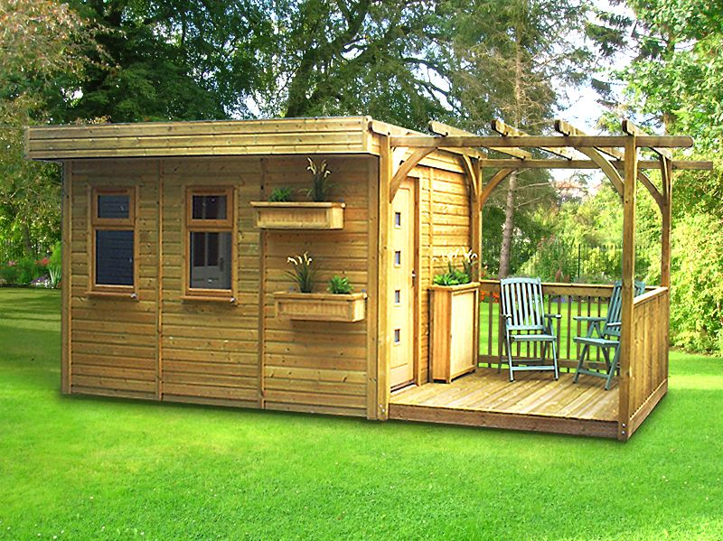 Warwick offices garden office buildings home offices for Flat pack garden decking