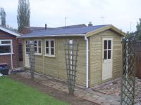 5700 x 2400 Garden Office with a pattition to split the office from the storage area.