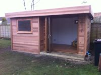 5m x 3m Garden Room in Cedar with a set back trifold door.
