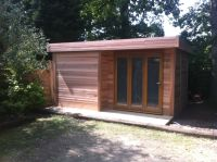 16 x 12 Cedar Office with recess and Bi-Fold door. Internally finished in white lining.