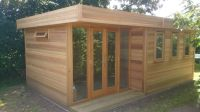 6m x 3.6m Garden Room in Cedar - with double doors and sidelights.