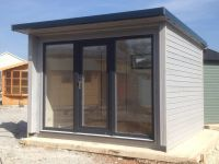 10 x 10 Garden Office with u-PVC door and side screens - painted in Protek Silver Fir