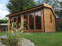 18 x 12 Office clad in Cedar with Cedar shingles and 2 x bi-folding doors