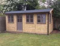 10 x 8 Contemporary Office with the doors in the gable end.