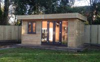 4.5m x 6m Office in Feather Edge, with Cedar Shingles