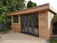 Cedar Clad Contemporary Office with Grey u-PVC