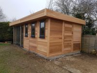 20 x 12 Contemporary Office with grey u-PVC and Cedar Cladding.