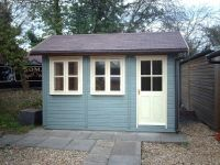 12 x 8 Traditional Garden Office with Cream Windows & Door. Please note that the Wild Thyme (Green Cladding) is not available.