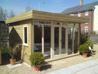 3800 x 3600 Contemporary Office with a mono pitched roof. With cream doors and windows.