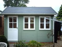 12 x 8 Traditional Office with white windows and willow coloured cladding