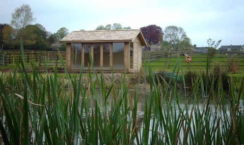 A beautiful setting deserves a beautiful building. A versatile garden building which maximises available natural light and of course the stunning view. A Cedar Clad building featuring a Bi-Fold door and Cedar Shingle Roof
